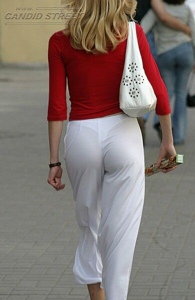 Babe in see through white pants