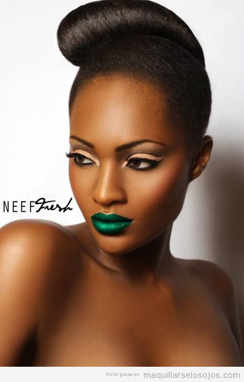 Black girl with green lipstick