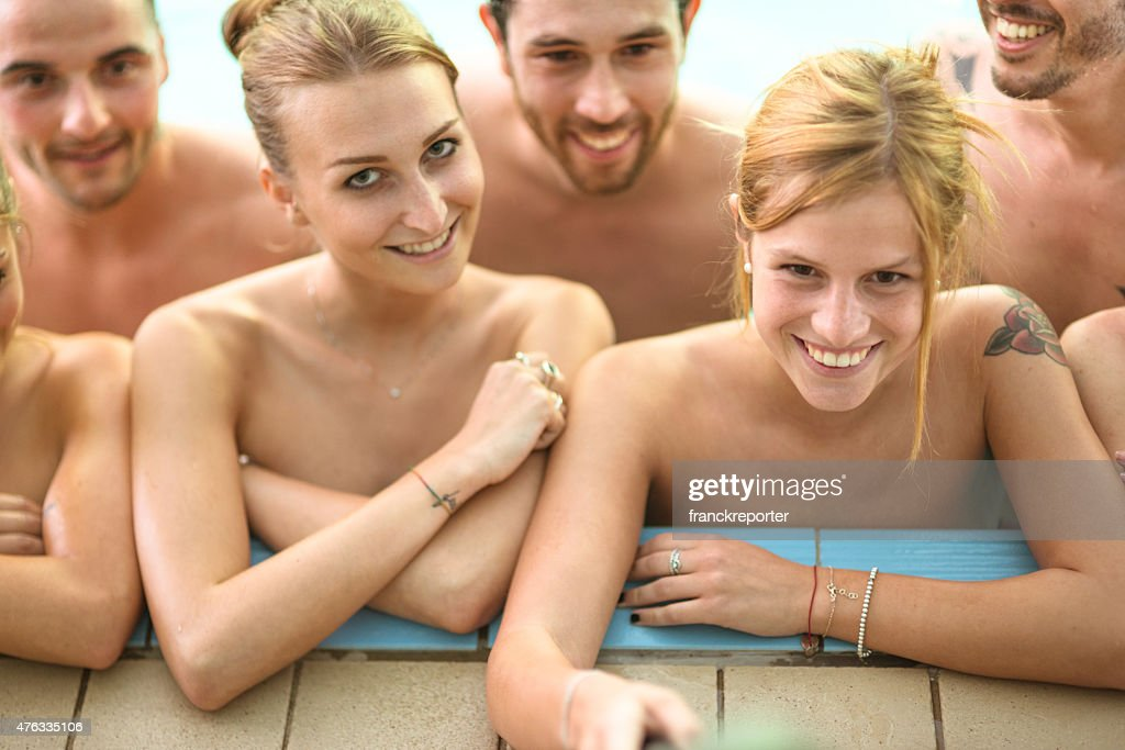 Private naked pool party